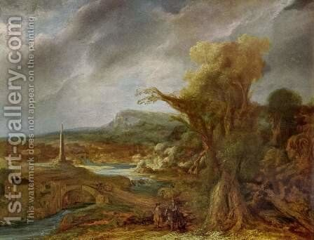Landscape with Obelisk (possibly the flight into Egypt) by Rembrandt - Reproduction Oil Painting