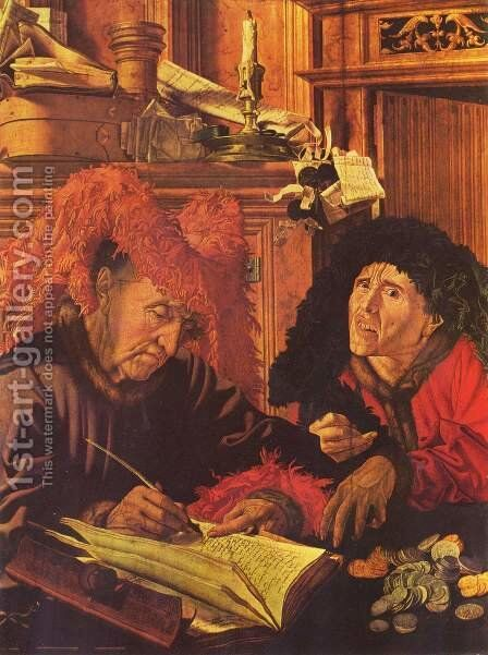 Two tax collectors by Marinus van Reymerswaele - Reproduction Oil Painting