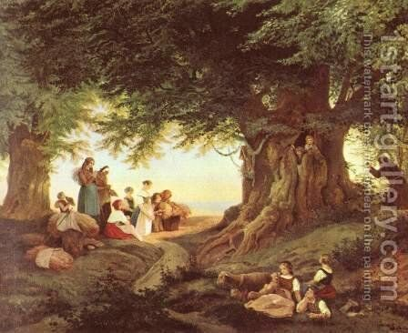 Evening prayers in the forest by Gustav Karl Ludwig Richter - Reproduction Oil Painting