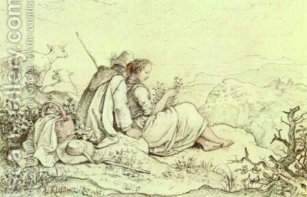 On the mountainside by Gustav Karl Ludwig Richter - Reproduction Oil Painting