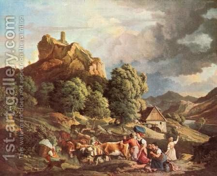 The horror rock at Aussig by Gustav Karl Ludwig Richter - Reproduction Oil Painting