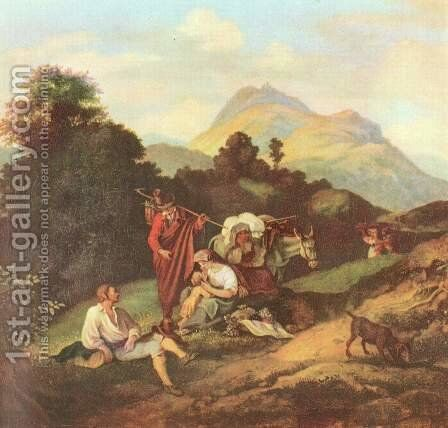 Italian Landscape with resting wandering people by Gustav Karl Ludwig Richter - Reproduction Oil Painting