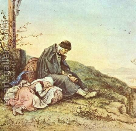 Resting beneath the Crossroads by Gustav Karl Ludwig Richter - Reproduction Oil Painting