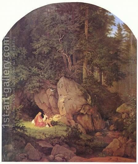 Solitude of Genoveva in the forest by Gustav Karl Ludwig Richter - Reproduction Oil Painting