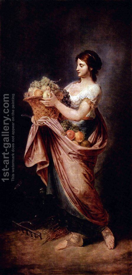 Allegory of Autumn by Bernhard Rode - Reproduction Oil Painting