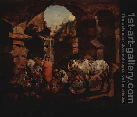 Gypsy camp in ancient ruins by Johann Heinrich Roos - Reproduction Oil Painting