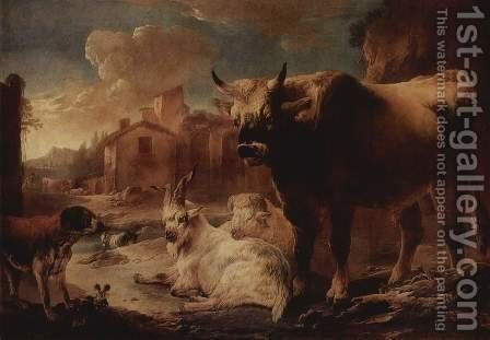 Landscape with herd by Philipp Peter Roos - Reproduction Oil Painting