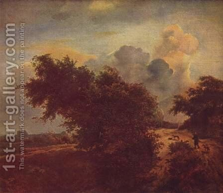 Landscape with dunes and bushes by Jacob Van Ruisdael - Reproduction Oil Painting