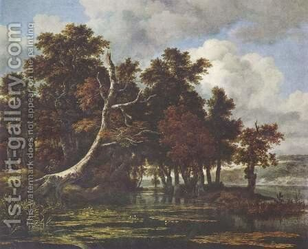 Landscape with swamp and oak forest by Jacob Van Ruisdael - Reproduction Oil Painting