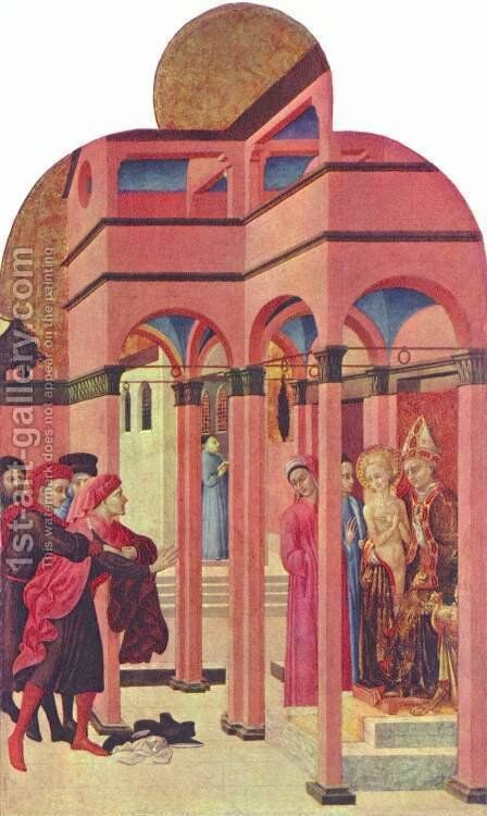 Polyptych altar for San Francesco in Borgo S. Sepulchre, Scene St. Francis denied his earthly father by Stefano Di Giovanni Sassetta - Reproduction Oil Painting