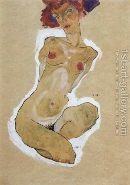 Crouching Female Nude by Egon Schiele - Reproduction Oil Painting