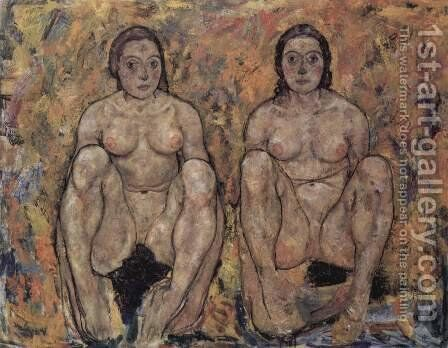 Crouching Woman Couple by Egon Schiele - Reproduction Oil Painting