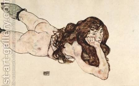 Reclining Nude by Egon Schiele - Reproduction Oil Painting