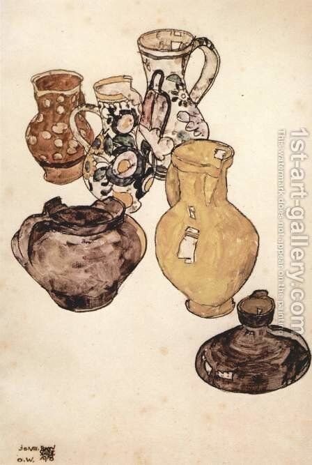 Earthenware tableware by Egon Schiele - Reproduction Oil Painting
