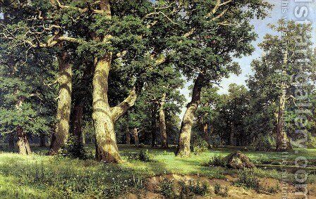 Oaks, Evening by Ivan Shishkin - Reproduction Oil Painting