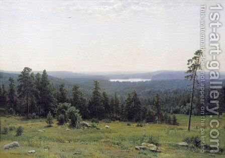 Remote view, river Kaman by Ivan Shishkin - Reproduction Oil Painting