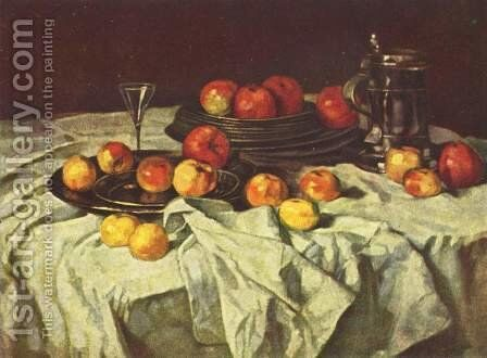 Apple Still Life by Carl Schuch - Reproduction Oil Painting