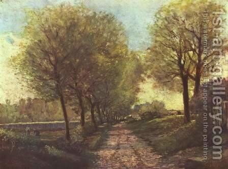 Avenue of trees in a small town by Alfred Sisley - Reproduction Oil Painting