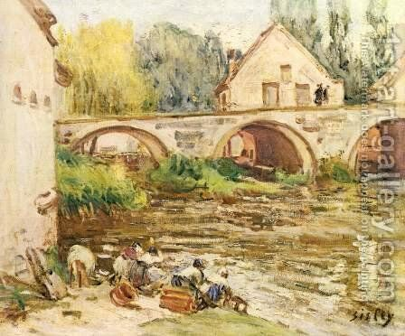 The laundresses of Moret by Alfred Sisley - Reproduction Oil Painting