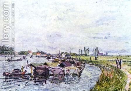 Barges at Saint-Mammes by Alfred Sisley - Reproduction Oil Painting