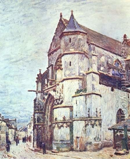 Church at Moret after the Rain by Alfred Sisley - Reproduction Oil Painting