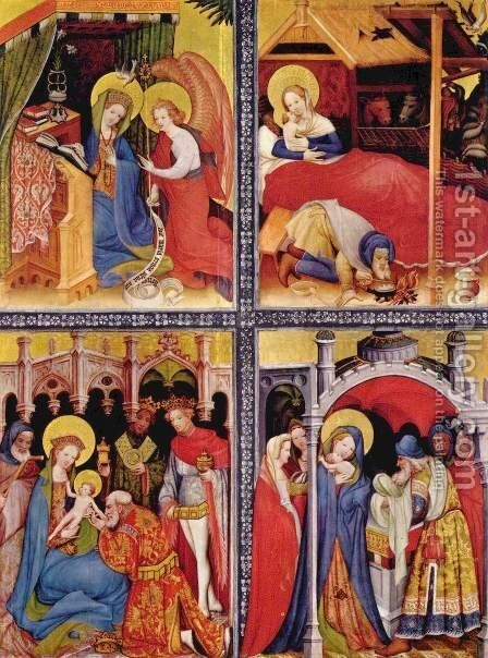 Passion Altar (Altar Wildungen), left wing, The Annunciation, Nativity Birth, Adoration of the Magi, Presentation in the Temple by Conrad von Soest - Reproduction Oil Painting