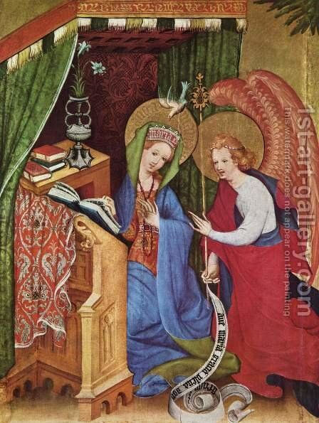 Passion Altar (Altar Wildungen), left wing, The Annunciation by Conrad von Soest - Reproduction Oil Painting