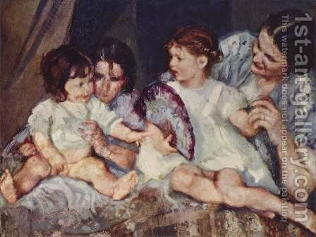 Children with Fan by Armando Spadini - Reproduction Oil Painting