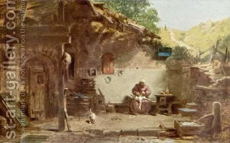 Old monk's hermitage by Carl Spitzweg - Reproduction Oil Painting