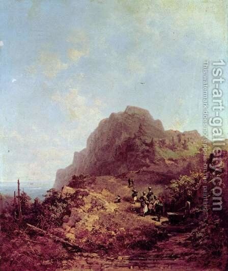 Mountain Hike (Trip to Herzogstand) by Carl Spitzweg - Reproduction Oil Painting