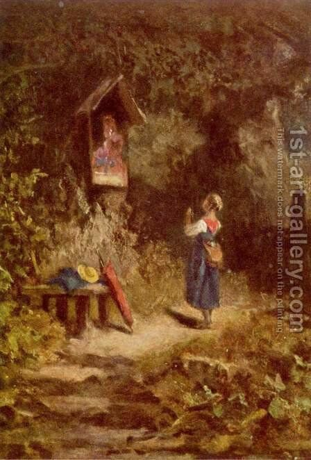Praying peasant girl in the woods by Carl Spitzweg - Reproduction Oil Painting