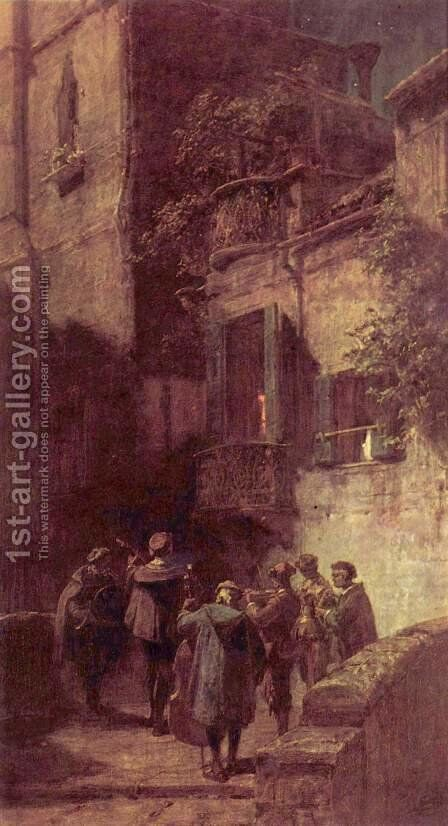 The serenade by Carl Spitzweg - Reproduction Oil Painting