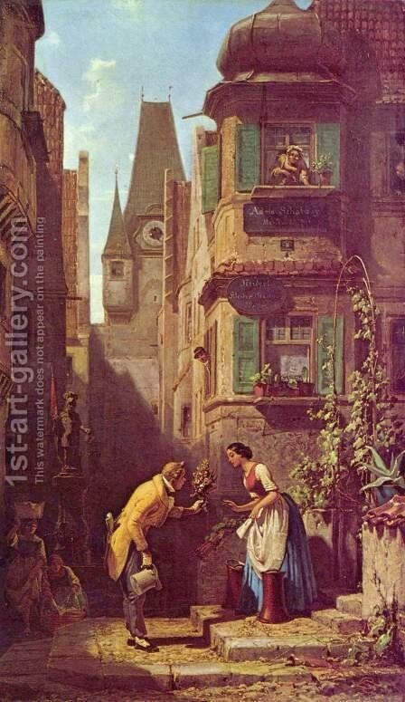 The eternal bridegroom by Carl Spitzweg - Reproduction Oil Painting