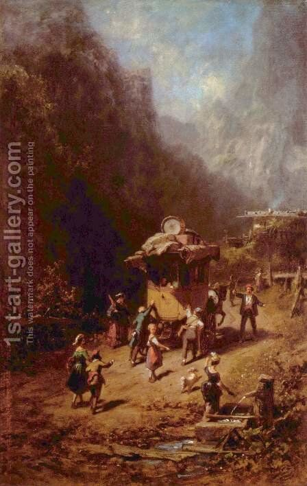 The stagecoach by Carl Spitzweg - Reproduction Oil Painting
