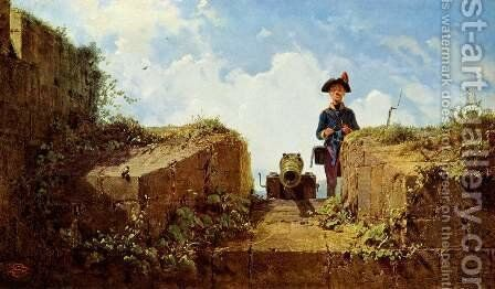 The knitting outpost by Carl Spitzweg - Reproduction Oil Painting
