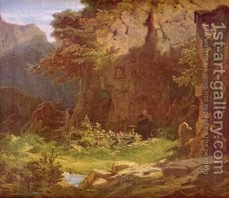 Hermit playing violin by Carl Spitzweg - Reproduction Oil Painting