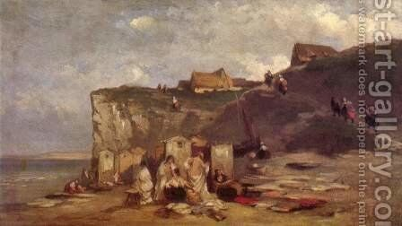 Bathing women in Dieppe III by Carl Spitzweg - Reproduction Oil Painting