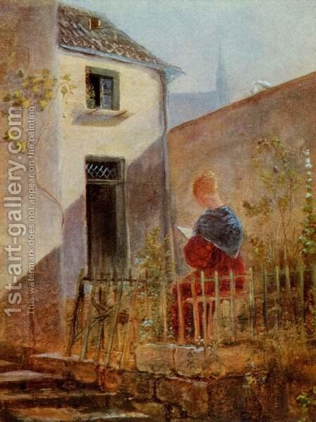 In the home garden by Carl Spitzweg - Reproduction Oil Painting