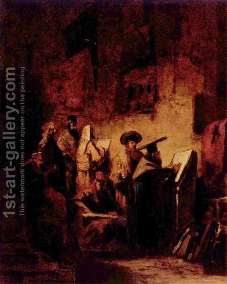 In the synagogue by Carl Spitzweg - Reproduction Oil Painting