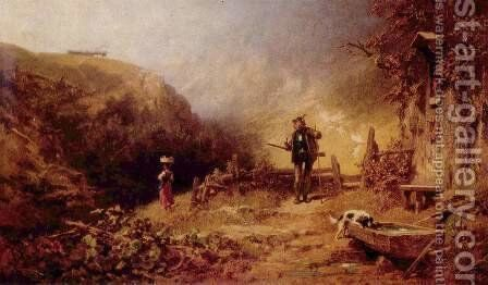 Hunter, looking after a girl by Carl Spitzweg - Reproduction Oil Painting