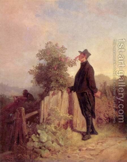 No rose without thorns by Carl Spitzweg - Reproduction Oil Painting