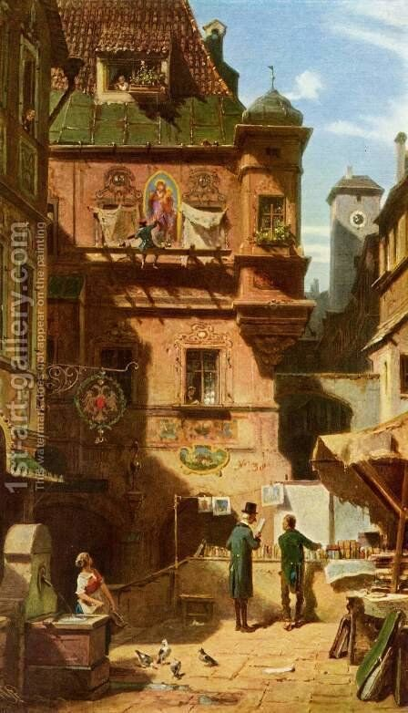 Art and Science (Kunst und Wissenschaft) by Carl Spitzweg - Reproduction Oil Painting