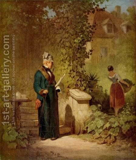 Newspaper reader in the garden by Carl Spitzweg - Reproduction Oil Painting