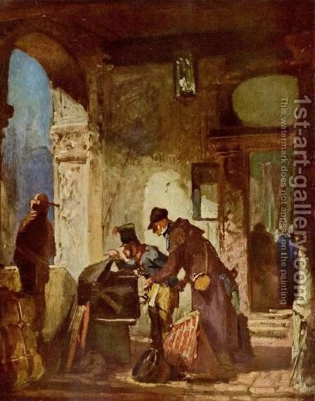 Customs examination (Papal custom guard) by Carl Spitzweg - Reproduction Oil Painting