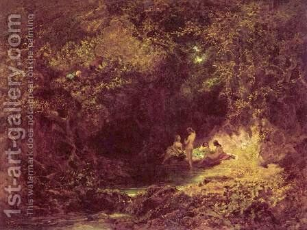 Nymphs Bathing by Carl Spitzweg - Reproduction Oil Painting