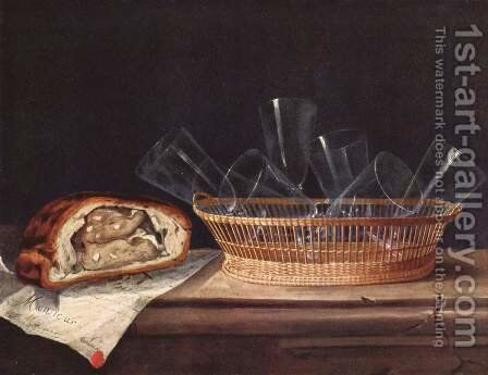 Basket with glasses, pie and a letter by Sebastien Stoskopff - Reproduction Oil Painting
