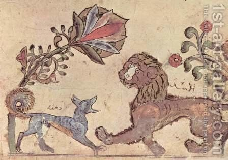 Kalila and Dimna, jackal tale scene The Lion and the Jackal Dimna by Syrian Unknown Master - Reproduction Oil Painting