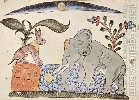 Kalila and Dimna of Bidpai, scene The rabbit and the elephant king before the mirror image of the moon in the source by Syrian Unknown Master - Reproduction Oil Painting