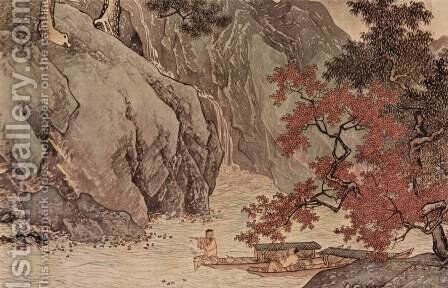Lone fisherman on the river in autumn by Tang Yin - Reproduction Oil Painting