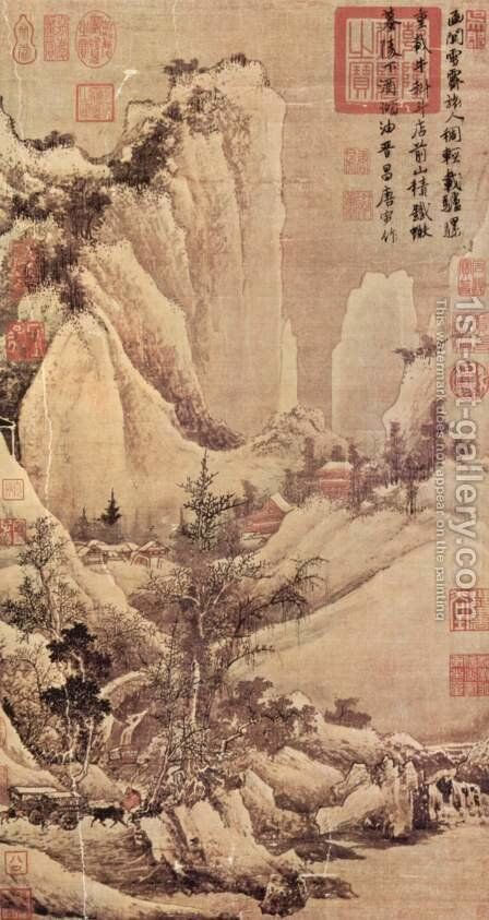 Reduction after the snowfall in a mountain pass by Tang Yin - Reproduction Oil Painting